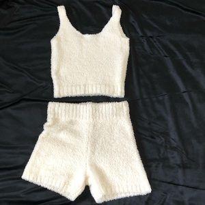 SKIMS Cozy knit robe, tank, and shorts